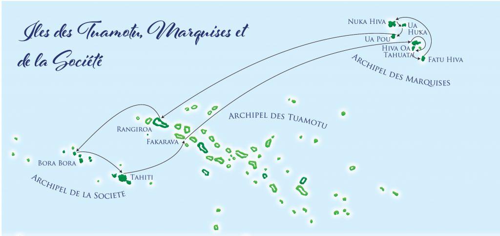 2020 - Itinéraire Marquises, Tuamotu et Iles