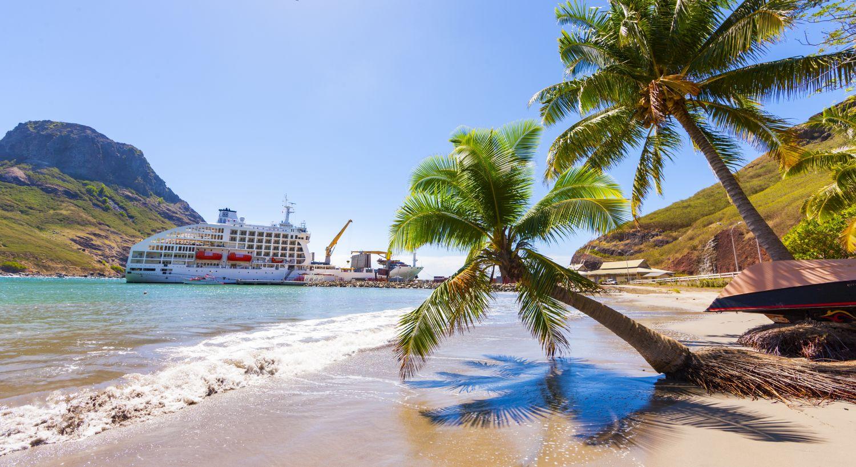 vue d'ensemble navire aranui et palmiers